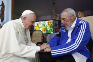 Religion is a source of non-governmental influence: Pope Francis meets Fidel Castro.