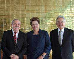 President Dilma Rousseff (centre) with her predecessors Lula da Silva (left) and Fernando Cardoso in 2012.