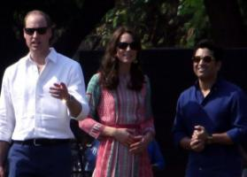 Celebrities meet: Britain's Prince William and his wife Catherine Duchess of Cambridge with Sachin Tendulkar in Mumbai in April 2016.