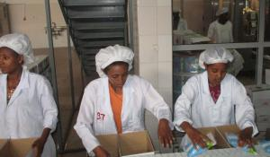 Workers in a dairy processing facility near Addis Ababa