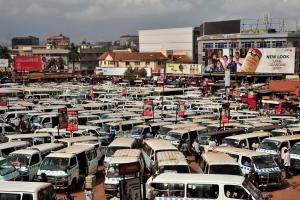 Bus station for shared-taxis in Kampala, the capital of Uganda.