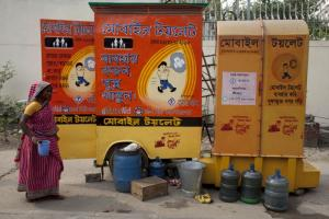 Nearly one out of three people worldwide lacks access to functioning sanitary facilities. Mobile toilets in Dhaka, Bangladesh.