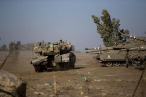 Israeli tanks during a training exercise on the Golan Heights near the Syrian border.