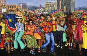 A mural in Windhoek depicts the celebration of independence in 1990.