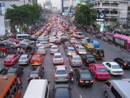 Traffic chaos in Thailand's capital.