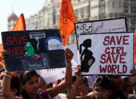 Students rally against female foeticide in Mumbai in 2012.