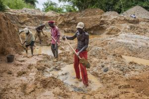 Extractive industries have not improved living conditions for the majority of people:  a diamond mine in eastern Sierra Leone.