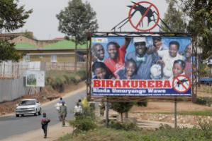 Death from malaria has dropped by 85.3 % from 2005 to 2011: awareness-raising billboard.