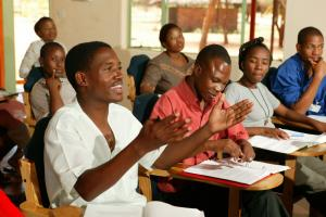 Students during a lecture, Woodpecker Seminar, Francistown, Botswana.