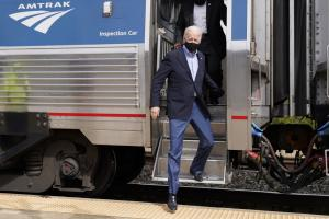 Campaigning in Pittsburgh last year: Biden is known to like trains and, as a senator, used to commute by rail for decades from Delaware to Washington for 36 years.