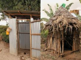 In the district of Meskan, only very few people have access to an improved latrine (left), most people have a traditional latrine (right), while 43 % of the households do not have access to any latrine.