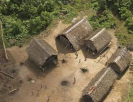 Huts of Huaorani people in Ecuador.