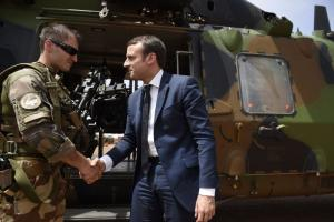 French President Emmanuel Macron visiting the troops of France's Barkhane counter-terrorism operation in Gao, northern Mali, in May.