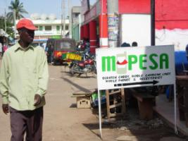 Shop offering M-Pesa services in Voi, Kenya.