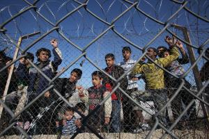 """Frontex is a symbol of """"fortress Europe"""": refugees in a Greek detention camp in the Evros region."""