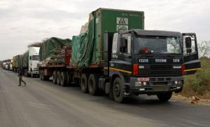 Africa needs regional integration: trucks waiting to cross the border from Botswana to Zambia.