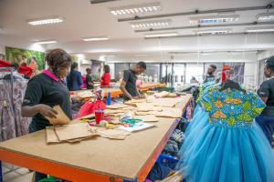 Garment workers in a DEG-supported Nigerian production facility.