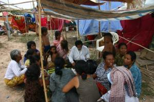 Health care is one of many dimensions of poverty: medical service in a settlement near Phnom Penh, Cambodia.