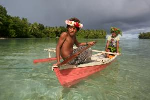 Paradise in danger: The Pacific island of Tuvalu is at risk of disappearing if sea levels rise.