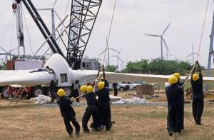 Pioneers: building a wind park in Tamil Nadu in 2002.