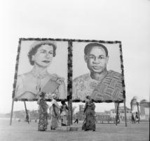 """Queen Elizabeth II and President Kwame Nkrumah depicted on a billboard in Accra in 1961 ahead of the monarch's visit to the former colony Ghana, which was then considered to be an """"underdeveloped"""" country."""