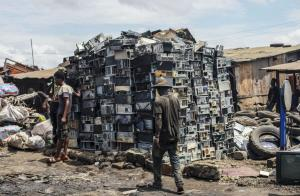 E-waste piled up for disassembling on a scrap yard in Ghana in 2019.