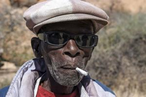 Namibia has introduced a minimum pension for the elderly: old man in Damaraland.