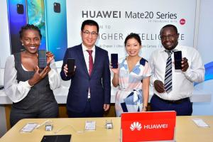Huawei managers at an event to promote a new mobile device in Nairobi in 2019