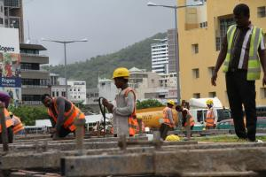 Building a light-rail transportation system is one of Mauritius' measures to curb emissions. Construction site of the Metro Express in Port Louis, the capital city.