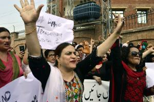 Hijras rallying for their rights in Peshawar in 2018.