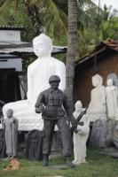 Sinhalese Buddhism ceased to be a non-violent doctrine long ago: sculptures on sale near the eastern coastal city of Trincomalee in 2010.