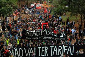 Caption: Anti-government demonstrations in São Paulo in June: civil-society organisations want global governance to respond positively to social protests.
