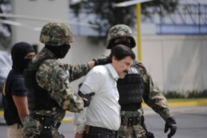 "Joaquín ""El Chapo"" Guzmán being arrested for the second time in 2014. The head of the Sinaloa cartel managed to escape from prison twice, but was extradited to the USA in 2017."