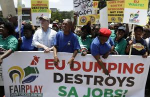 Workers from the South African poultry sector protest outside the EU headquarters in Pretoria in 2017. The protest followed plans by chicken producers to cut jobs, citing the impact of low-cost chicken imported from Europe.