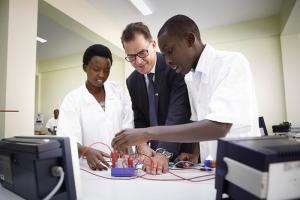 Gerd Müller, Germany's federal minister for economic cooperation and development, visiting the Integrated Polytechnic Regional Centre in the Rwandan capital Kigali in 2016.