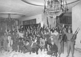 Combatants inside the Holiday Inn in Beirut in the mid 1970s: the war was ravaging the downtown area.