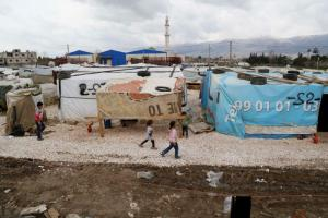 Syrian refugee camp in the Bekaa Valley.