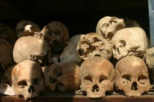 Skulls at the killing field Choeung Ek near Phnom Penh, which is now a memorial.