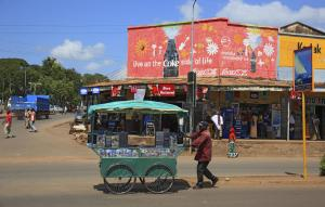Informal employment is the norm: mobile CD shop in Moshi, Tanzania.