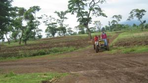Tractor on the slopes of Mount Kilimanjaro: rural roads must improve.