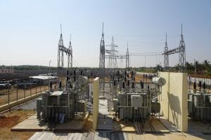 Electrical substation in Anantapur, India. Co-financed by KfW, it supplies electricity for the state of Andhra Pradesh.