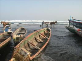 Artisanal fishing boats in Dakar, Seneal.
