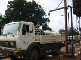 Because there is no plumbing in much of South Sudan, the drinking water must be brought to customers in tank trucks.