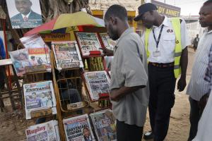 News stand in Kampala in 2016.