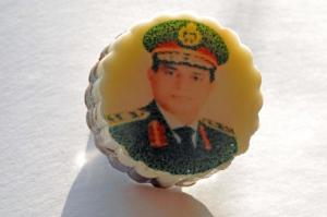 Personality cult: the president's face on a sweet.
