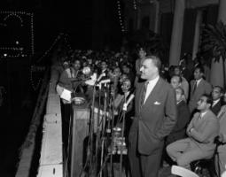 President Nasser addressing a rally in Alexandria in 1957.