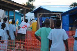 During the West African Ebola epidemic in 2014, the INGO Médecins Sans Frontières (MSF) assumed a major role in health care: MSF-centre in Foya, northern Liberia.