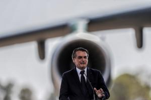 Distorted ideas of national greatness: Bolsonaro speaking on the occasion of an aircraft delivery to the military in September 2019.