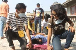 Aid training run by medico partner AYON in Katmandu.