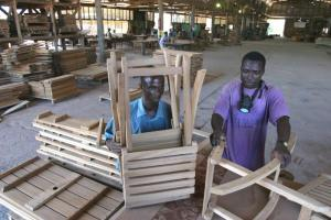 Aid for trade is meant to diversify a country's export industry. Garden furniture produced for export in Ghana.